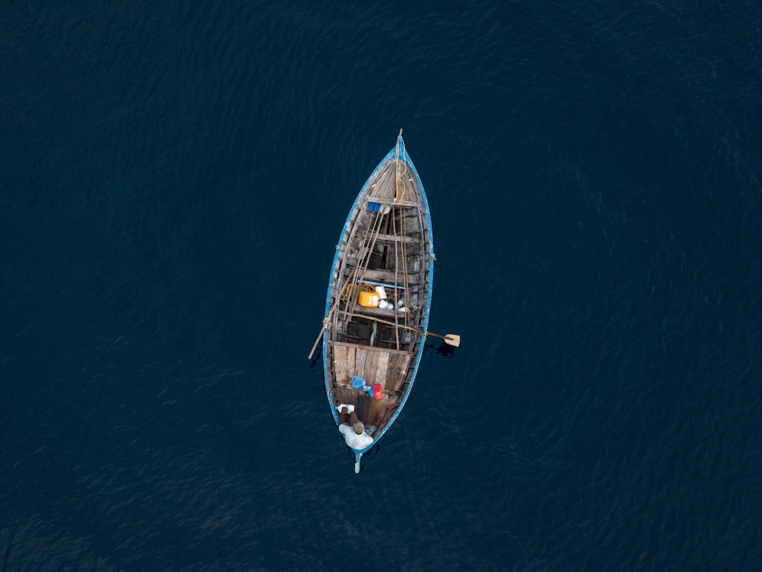 A small boat alone in the ocean