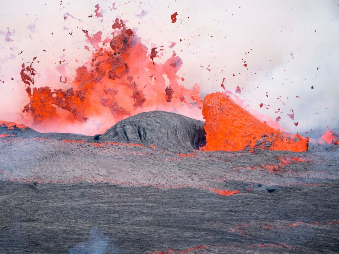 Lava erupting from a volcano